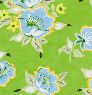 Heather Bailey Nicey Jane Fabric - Church Flowers - Green