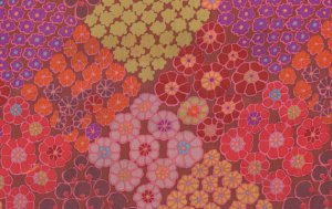 Kaffe Fassett Tile Flowers Fabric - Brown