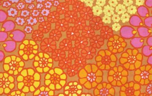 Kaffe Fassett Tile Flowers Fabric - Gold