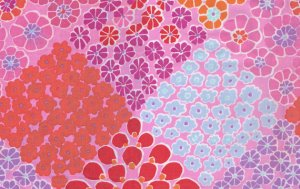 Kaffe Fassett Tile Flowers Fabric - Pink
