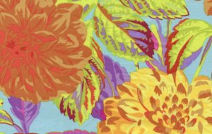 Philip Jacobs Pom Pom Dahlias Fabric - Orange