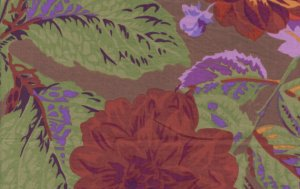 Philip Jacobs Pom Pom Dahlias Fabric - Ruset