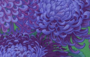 Philip Jacobs Japanese Chrysanthemum Fabric - Purple