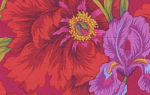 Philip Jacobs Iris and Peony Fabric - Red