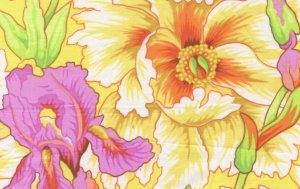 Philip Jacobs Iris and Peony Fabric - Yellow