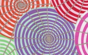 Kaffe Fassett Parasols Laminate Fabric - Cream