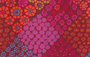 Kaffe Fassett Tile Flowers Sateen Fabric - Red