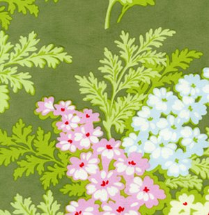 Heather Bailey Nicey Jane Laminate Fabric - Picnic Bouquet - Moss