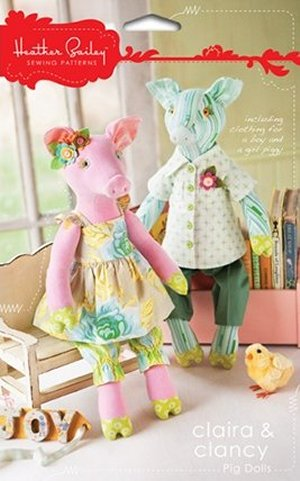 Heather Bailey Sewing Patterns - Claira & Clancy Pig Dolls Pattern