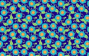 Amy Butler Lark Fabric - Button Flowers - Navy