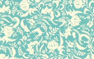 Amy Butler Lark Sateen Fabric - Ivy Bloom - Lake