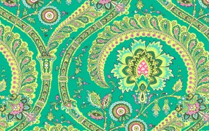 Amy Butler Lark Sateen Fabric - Feather Paisley - Jade