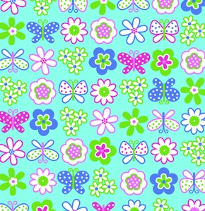 Erin McMorris Greenhouse Flannel Fabric - Backyard Garden - Aqua