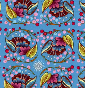 Anna Maria Horner Loulouthi Fabric - Curated Bloom - Fun Blue