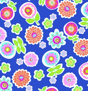 Erin McMorris Greenhouse Flannel Fabric - Backyard - Royal