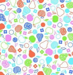 Erin McMorris Greenhouse Flannel Fabric - Fruit Salad - Royal