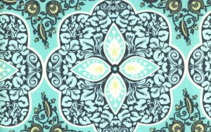 Amy Butler Daisy Chain Fabric - Pressed Flowers - Turquoise