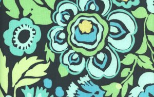 Amy Butler Daisy Chain Fabric - Deco Rose - Navy