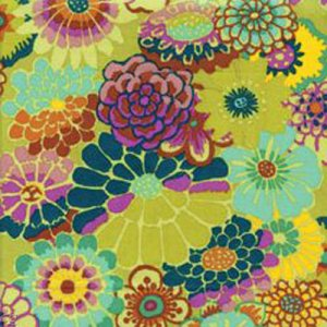 Kaffe Fassett Asian Circles Fabric - Chartreuse