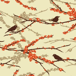 Joel Dewberry Aviary 2 Fabric - Sparrows - Bark