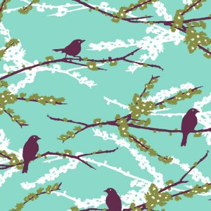 Joel Dewberry Aviary 2 Fabric - Sparrows - Plum