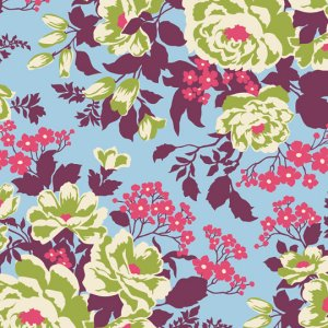 Joel Dewberry Heirloom Fabric - Rose Bouquet - Sky
