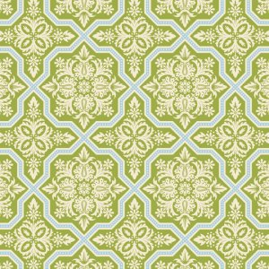 Joel Dewberry Heirloom Fabric - Tile Flourish - Green