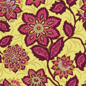 Joel Dewberry Heirloom Fabric - Ornate Floral - Garnet