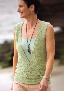 Rowan Summer Tweed Seafoam Vest Kit - Crochet for Adults