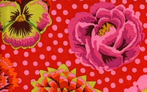 Kaffe Fassett Big Blooms Fabric - Red