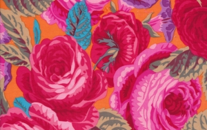 Philip Jacobs Glory Rose Fabric - Scarlet