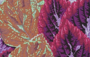 Philip Jacobs Begonia Columns Fabric - Purple