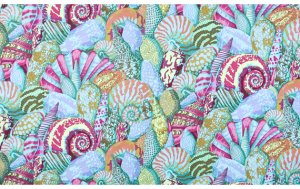 Philip Jacobs Shell Montage Fabric - Aqua