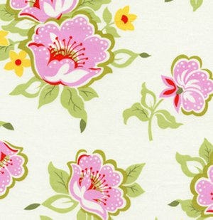 Heather Bailey Nicey Jane Fabric - Church Flowers - Pink