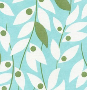 Heather Bailey Nicey Jane Laminate Fabric - Lindy Leaf - Blue
