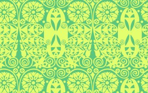 Amy Butler Organic Soul Blossoms Fabric - Temple Doors - Grass