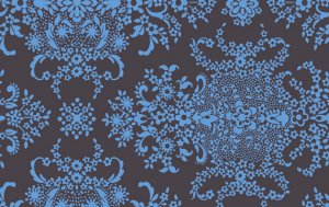 Amy Butler Organic Soul Blossoms Fabric - English Garden - Blue Stone