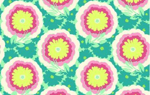 Amy Butler Soul Blossoms Rayon Fabric - Buttercups - Spearmint