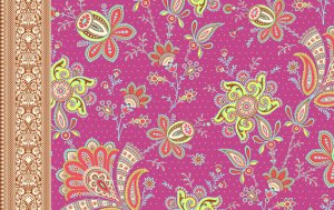 Amy Butler Soul Blossoms Rayon Fabric - Sari Blooms - Raspberry