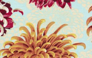 Philip Jacobs Floating Mums Fabric - Natural