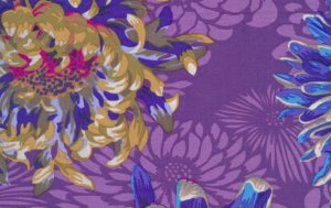 Philip Jacobs Floating Mums Fabric - Purple