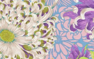 Philip Jacobs Floating Mums Fabric - Spring