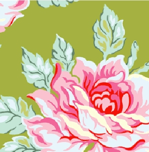 Heather Bailey Nicey Jane Fabric - Hello Roses - Olive