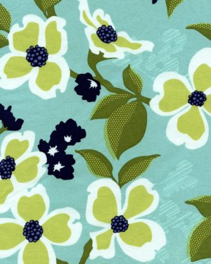 Joel Dewberry Modern Meadow Fabric - Dogwood Bloom - Pond