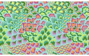 Amy Butler Soul Blossoms Rayon Fabric - Peacock Feathers - Sea Grass