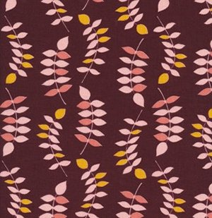 Valori Wells Jenaveve Linen Fabric - Leaves - Merlot