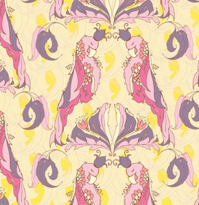 Tina Givens Pernilla's Journey Fabric - Royal Parrot - Lemon Creme