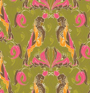 Tina Givens Pernilla's Journey Fabric - Royal Parrot - Olive