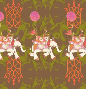 Tina Givens Pernilla's Journey Fabric - Elephant Run - Chocolate