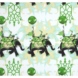 Tina Givens Pernilla's Journey Fabric - Elephant Run - Cloud